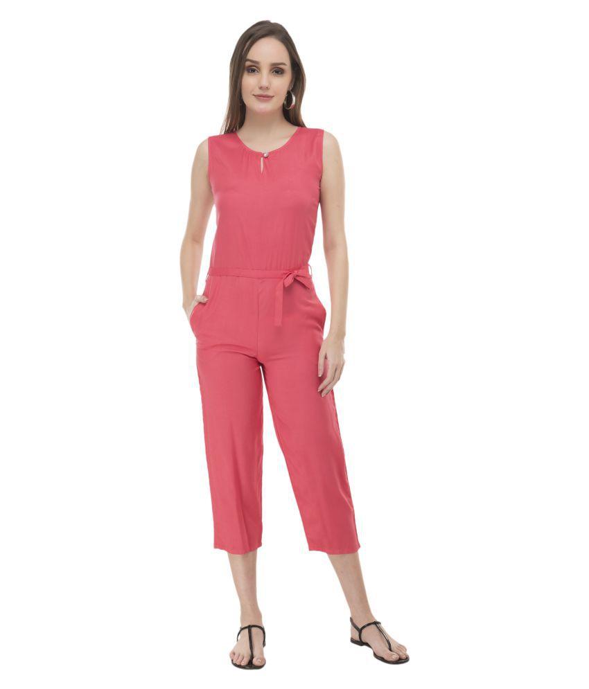 Curlx Fashion Pink Rayon Jumpsuit