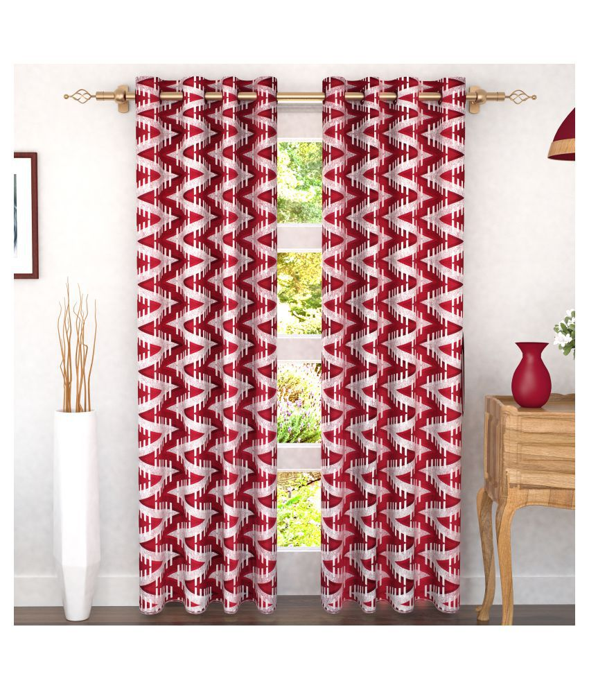 Story@Home Set of 2 Door Semi-Transparent Eyelet Polyester Curtains Maroon