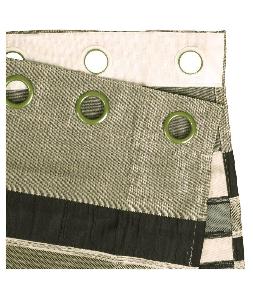 Story@Home Set of 2 Window Blackout Room Darkening Eyelet Jute Curtains Green
