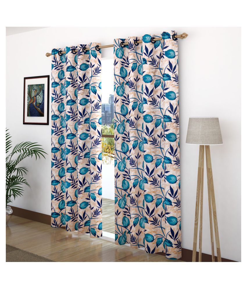 Story@Home Set of 2 Door Semi-Transparent Eyelet Polyester Curtains Blue
