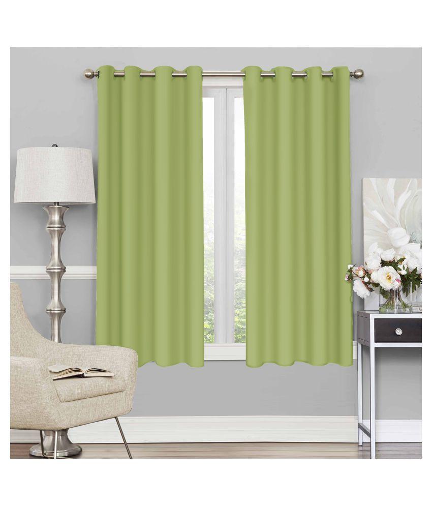 Story@Home Set of 2 Window Blackout Room Darkening Eyelet Silk Curtains Green