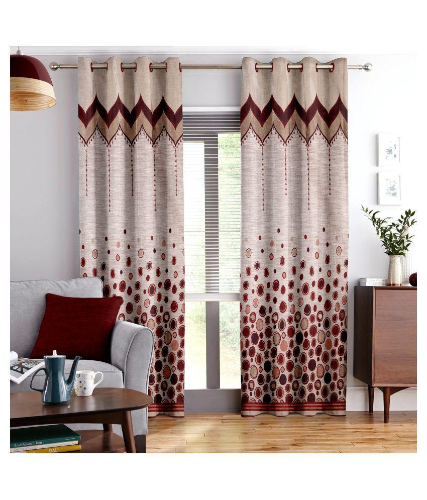 Story@Home Single Door Blackout Room Darkening Eyelet Jute Curtains Maroon