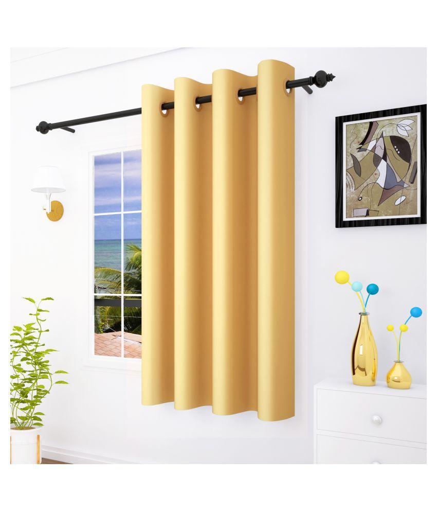 Story@Home Single Window Blackout Room Darkening Eyelet Silk Curtains Yellow