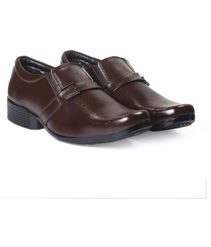 Global Rich Derby Artificial Leather Brown Formal Shoes