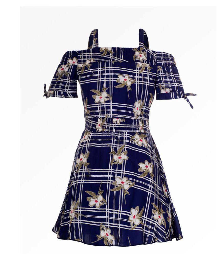 Naughty Ninos Girls Navy Blue Floral off Shoulder Printed Dress