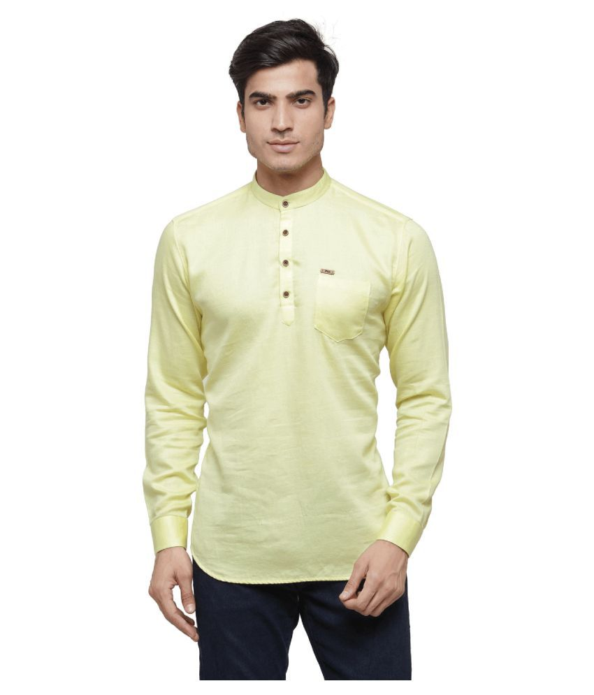 RG Designers Yellow Cotton Kurta Single