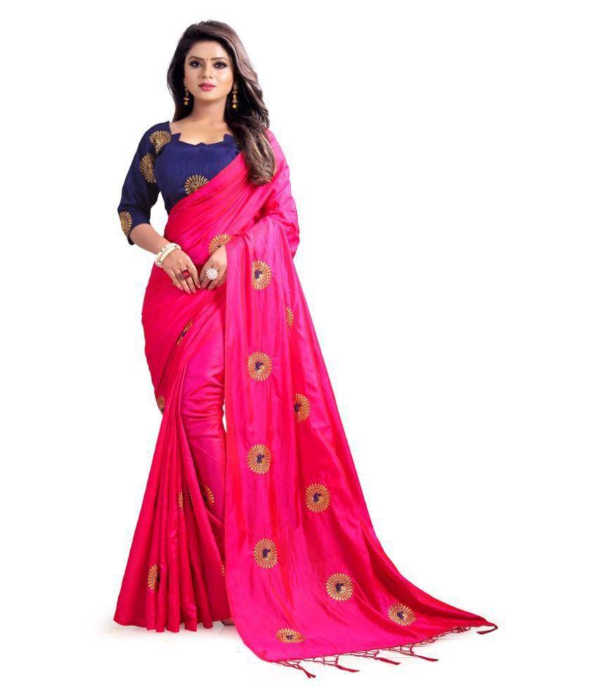 avaki Pink Silk Saree