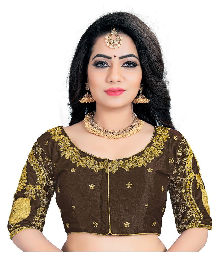 Women Blouse Brown Silk Semi Stitched Blouse