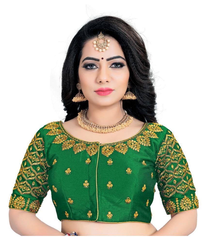 Women Blouse Green Dupian Silk Semi Stitched Blouse