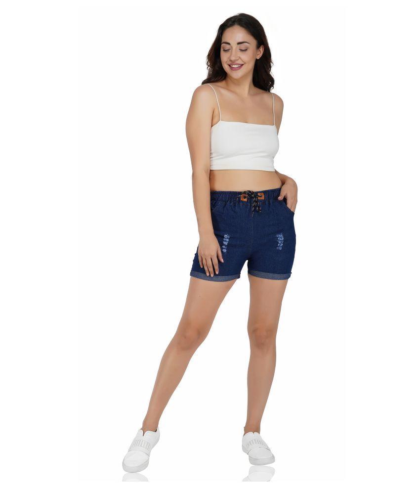 FineCreations Blue Cotton Blend Solid Shorts