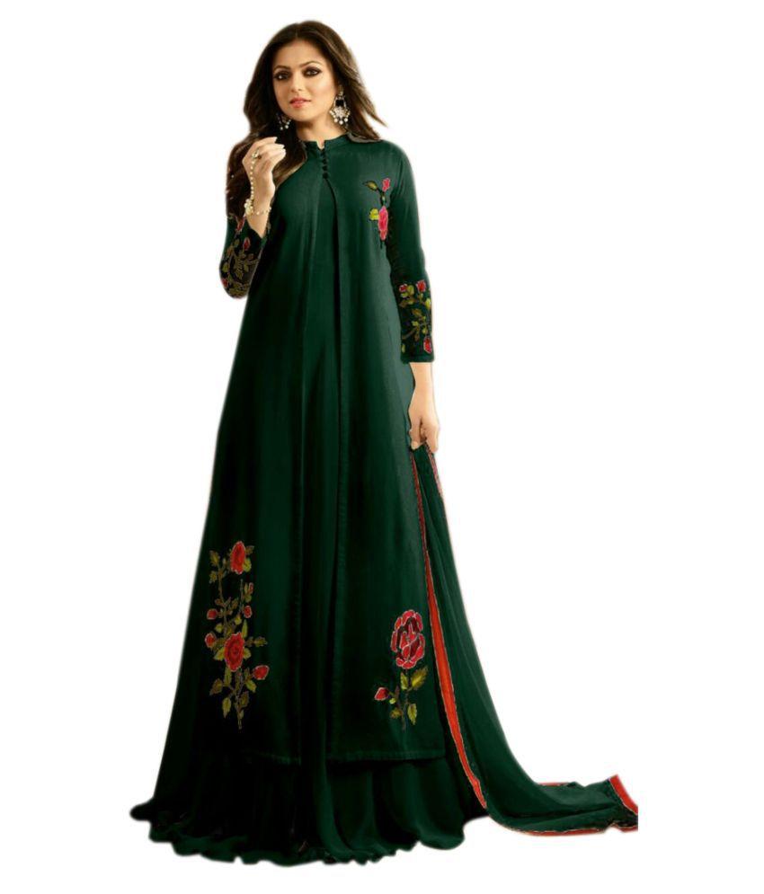 P.K FASHION BAZAR Green Georgette Gown