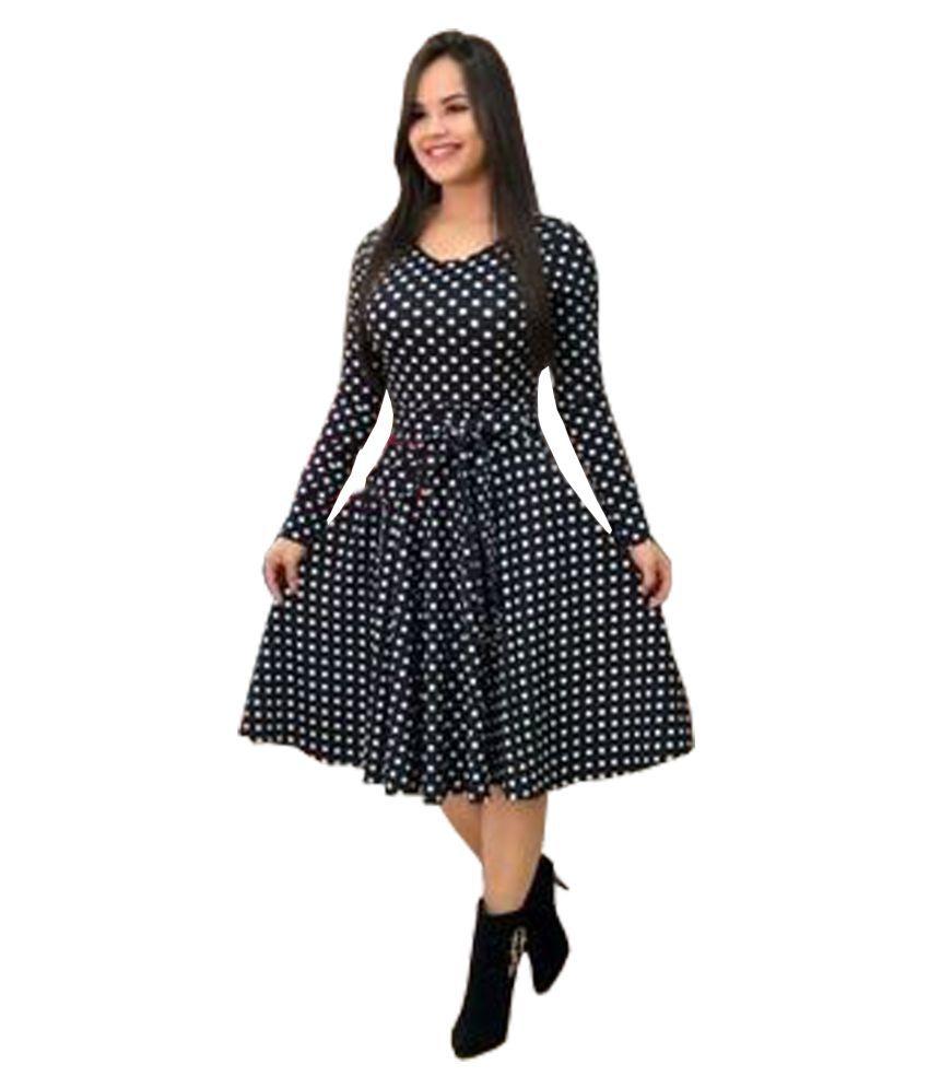 Ritsila Cotton Black Fit And Flare Dress