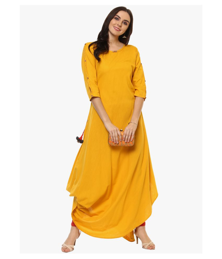 Ritsila Cotton Yellow A- line Dress