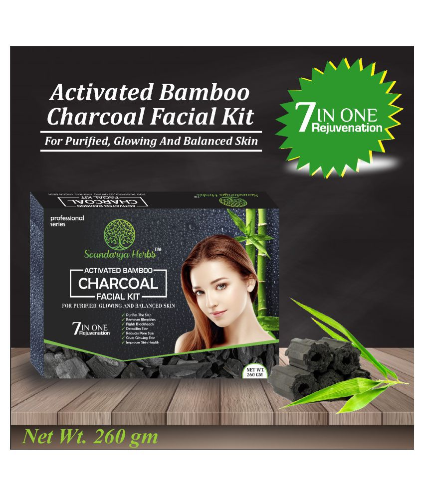 Soundarya Herbs Activated Charcoal 6 in 1 Facial Kit 260 g