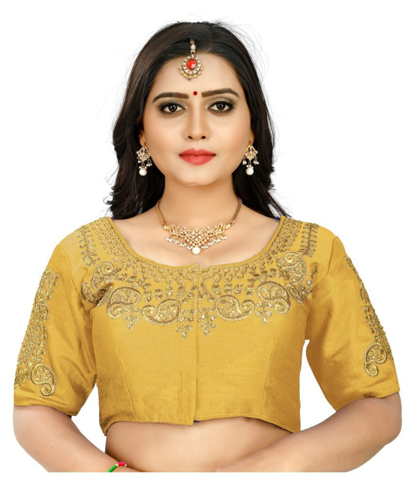 Women Blouse Gold Silk Semi Stitched Blouse