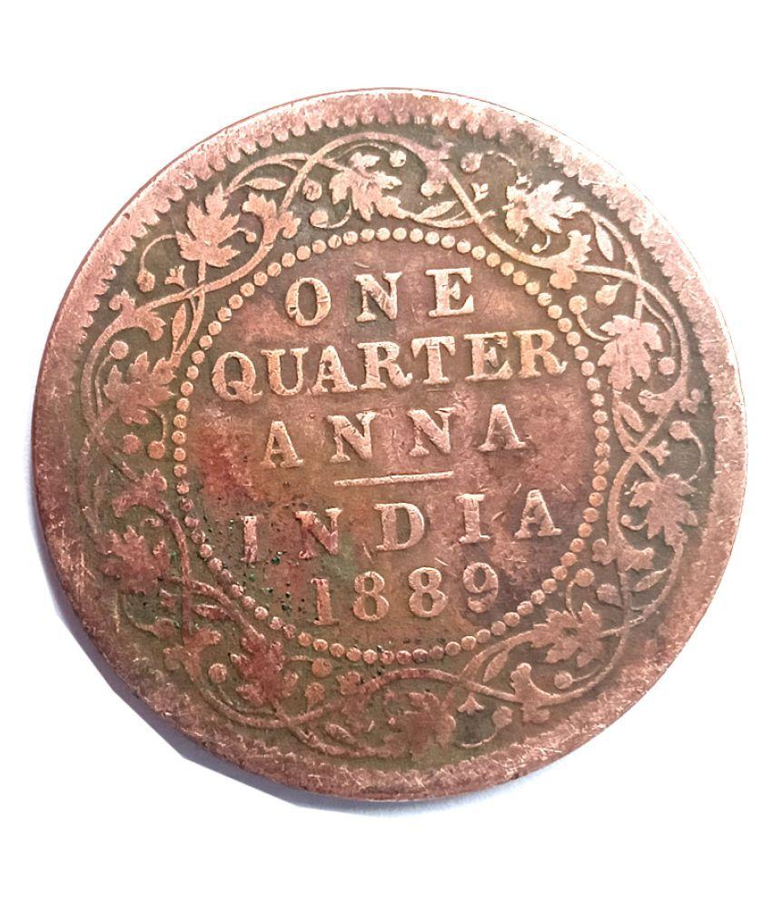 old rare one quarter anna year 1889 victoriya empress coin