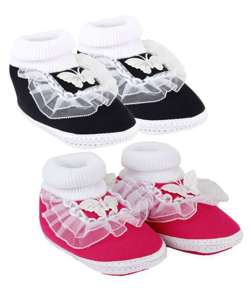 Neska Moda Pack Of 2 Baby Infant Soft Black and Pink Booties/Shoes For 0 To 12 Months