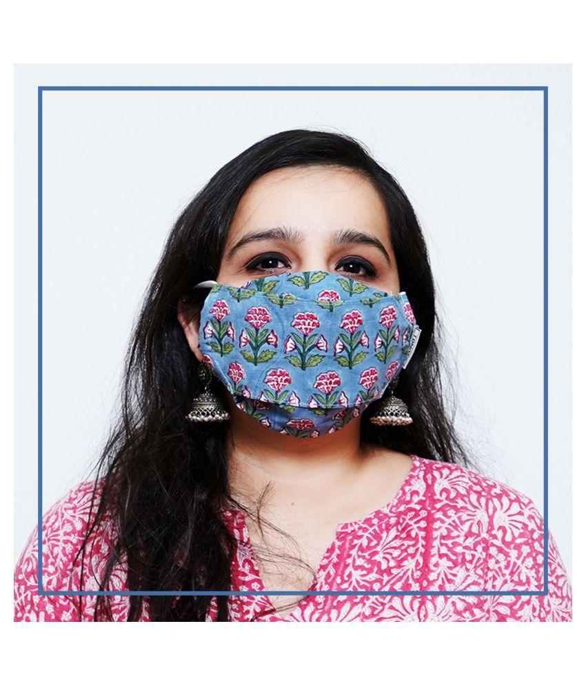 TONOTO Reusable 100% Cotton Block Printed 3D Origami Mask with Filter Pocket and Nose Pin