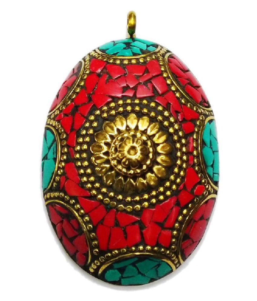 Vinayak Red Indian Pendant mop Oval design