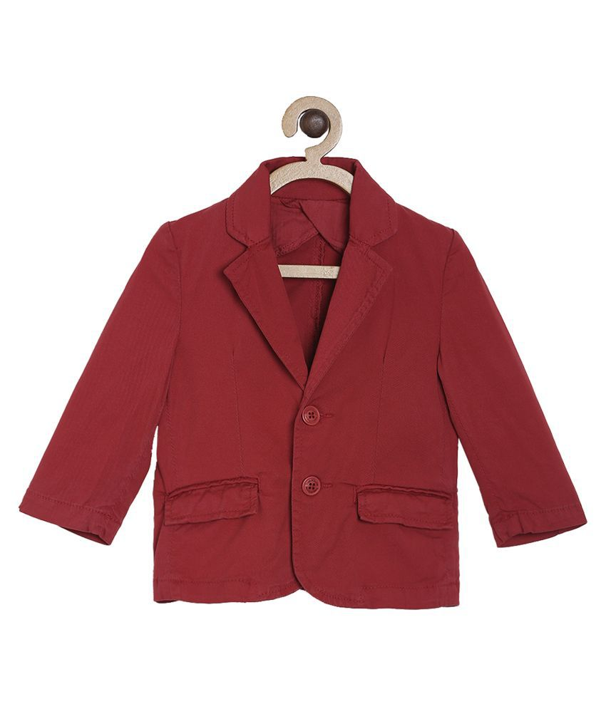 Tales & Stories Boys Red Solid Regular Fit Single Breasted Casual Blazer