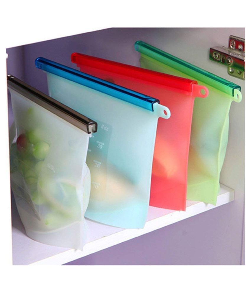 Alciono Silicone Food Storage container organiser Bag 1LTR | Airtight | Ziplock | Heat and Cold Resistant | Reusable Vacuum Food/Snack/Vegetable/Meat Storage for Fridge and Microwave Also (4 PC)