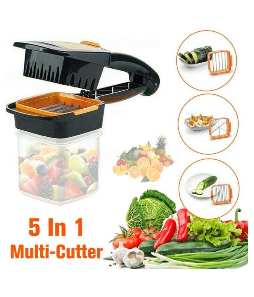 DREAMSKART 5 in 1 Nicer_Dicer Multifunction Vegetable Cutter Manual Vegetable Quick Dicer Fruit Chopper Slicer Non-Skid Base Slicer and Chopper