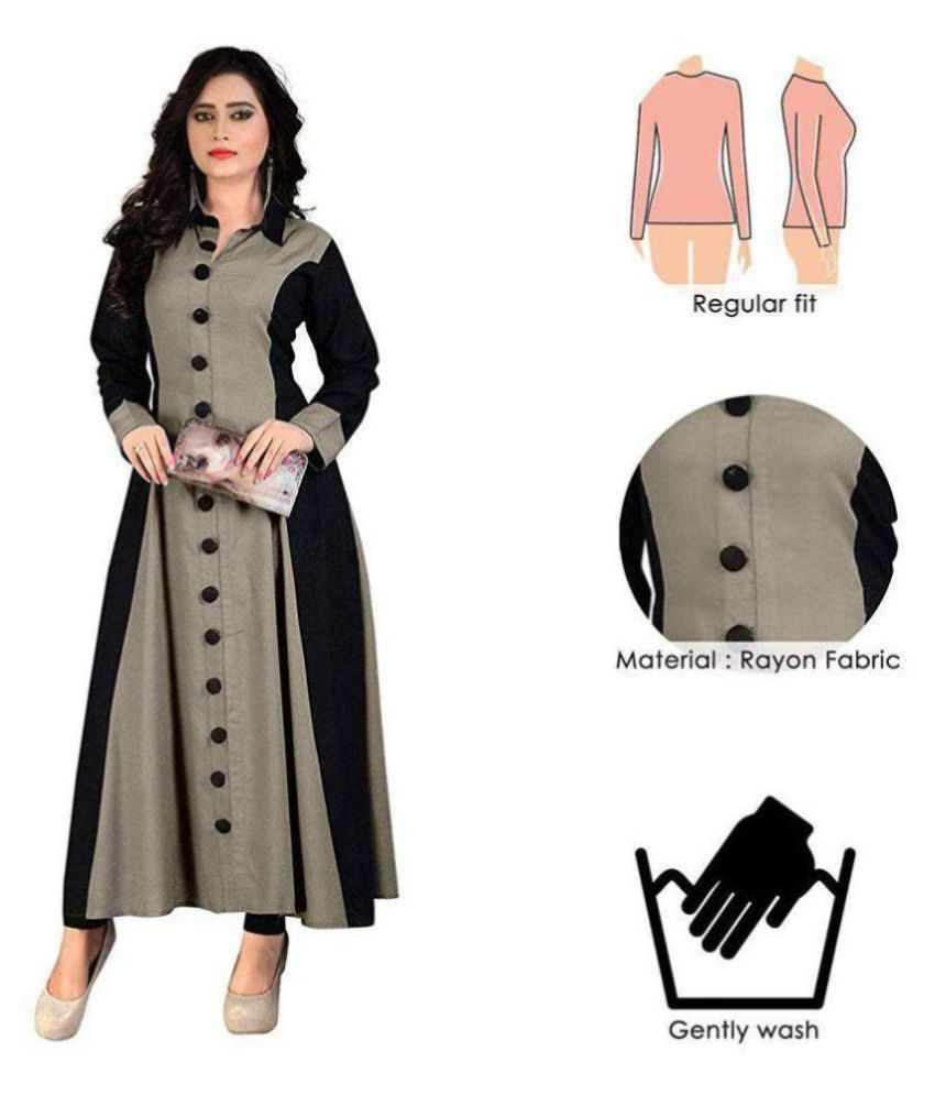 RUNAV FASHION Grey Rayon Anarkali Kurti