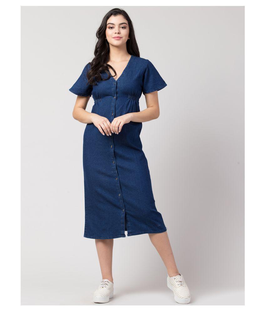 Sakshi Trader Poly Cotton Blue Beach Dresses