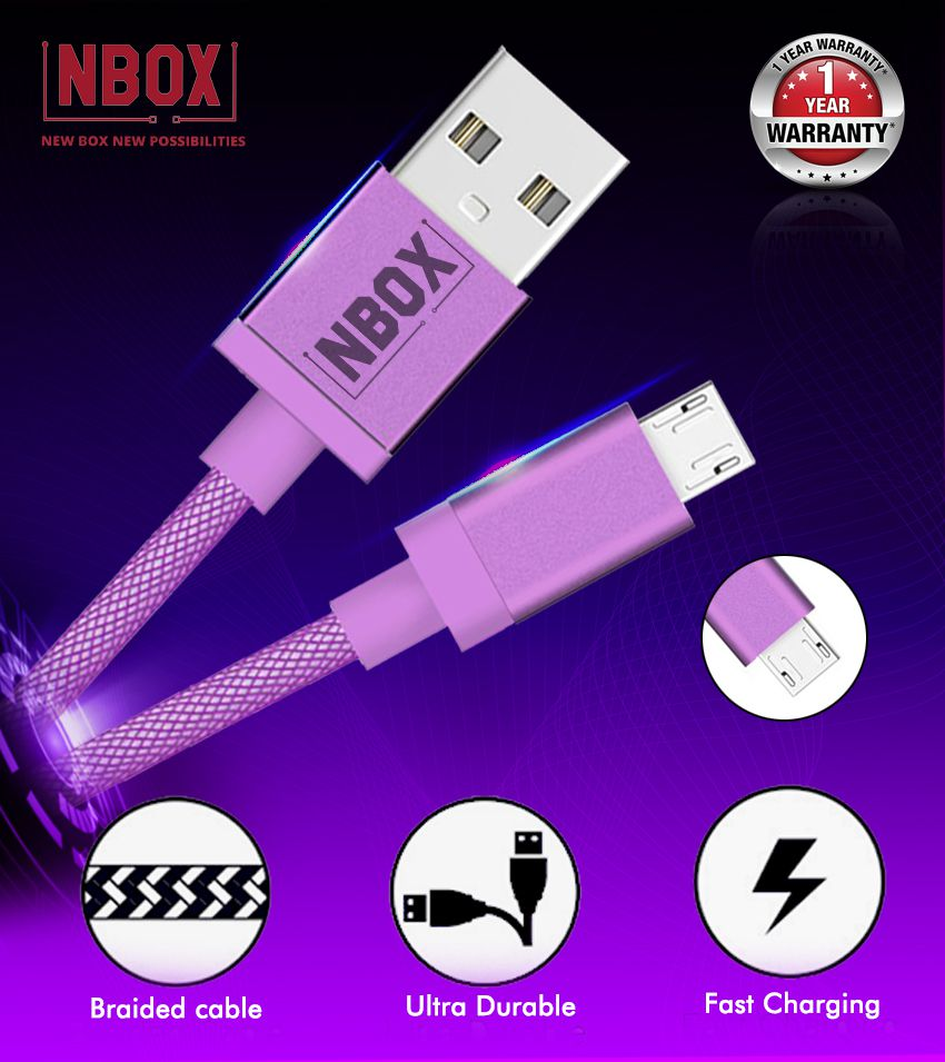 NBOX Fast Charging Micro USB Nylon Braided Data Cable for Mi, Xiaomi, Redmi, Samsung, Oppo, Vivo & All Androids (1 Meter, Purple)