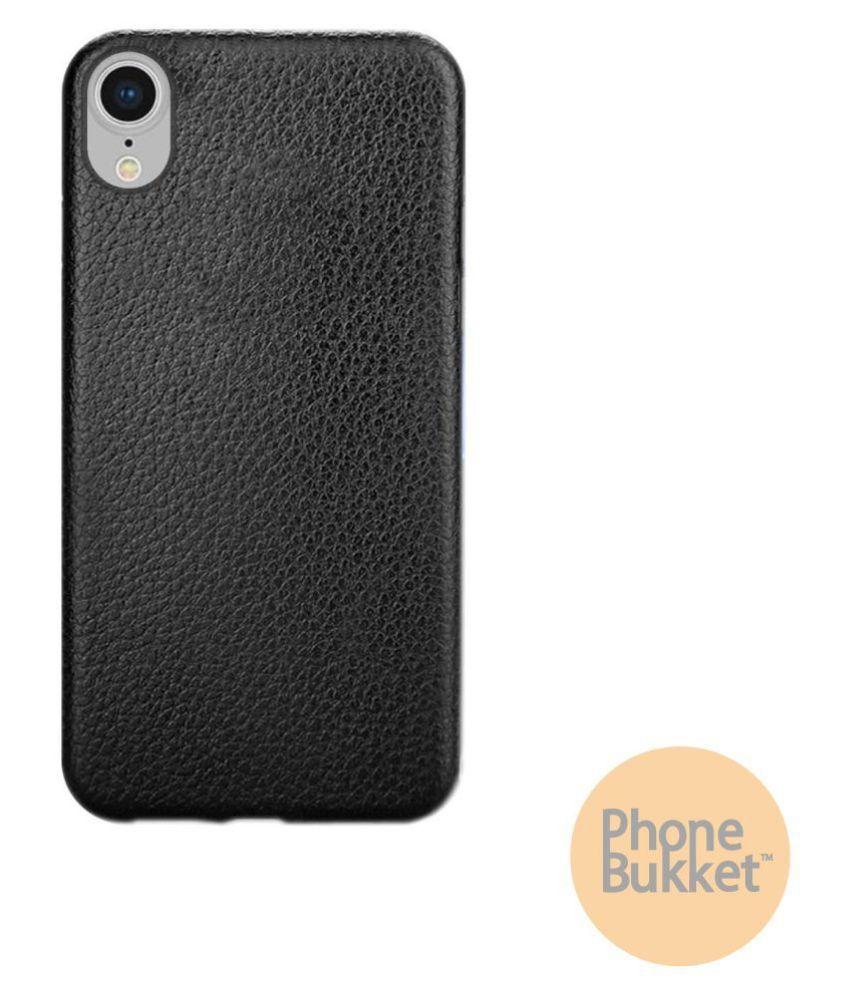 Phone Bukket Leather Finish Back Case Cover for Apple iPhone XR (Black)