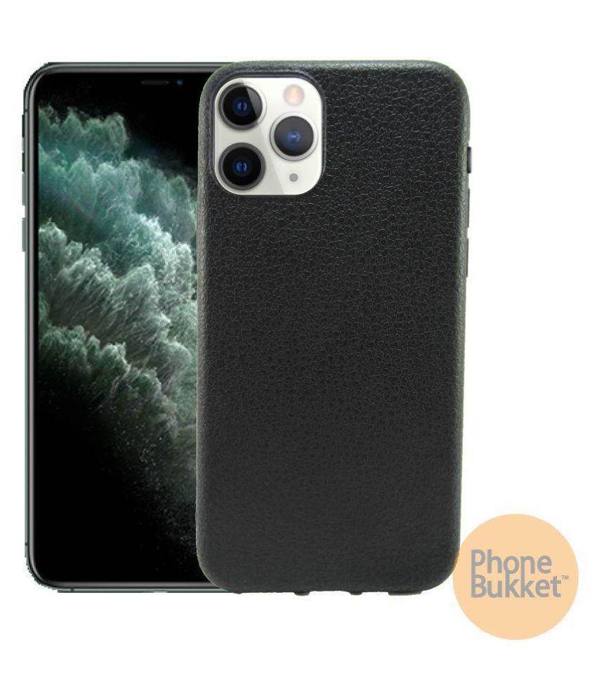 PhoneBukket Leather Finish Back Cover for Apple iPhone 11 Pro Max (Black)