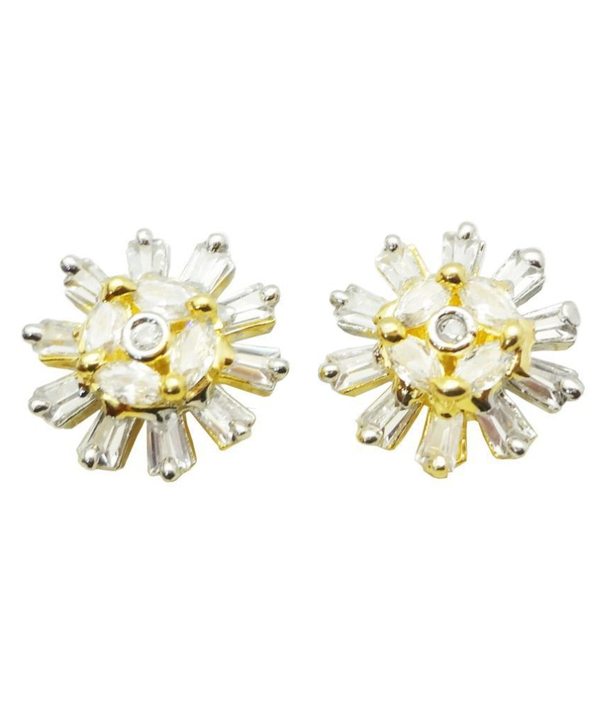 Shardajewels White American Diamond Gold Plated Earring SJE-207 for Girls & Women