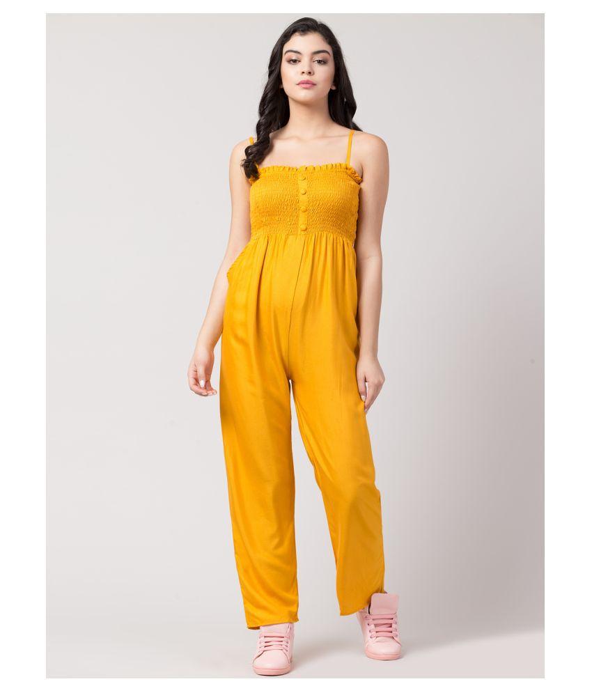 Sakshi Trader Yellow Rayon Jumpsuit