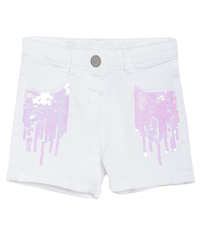 Tales & Stories Baby Girls White Embellished Regular Fit Cotton Shorts