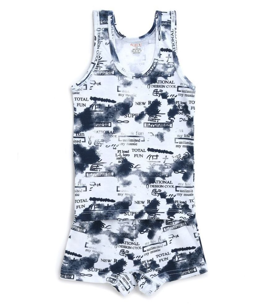 Care in Printed Round Neck Cotton White Color Sando Vest and Short Set for Boys and Kids
