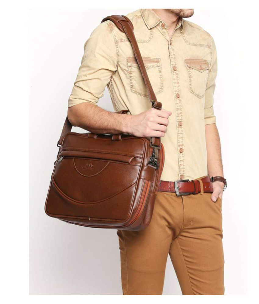 Leather Gifts Fly1137 Tan P.U. Office Bag