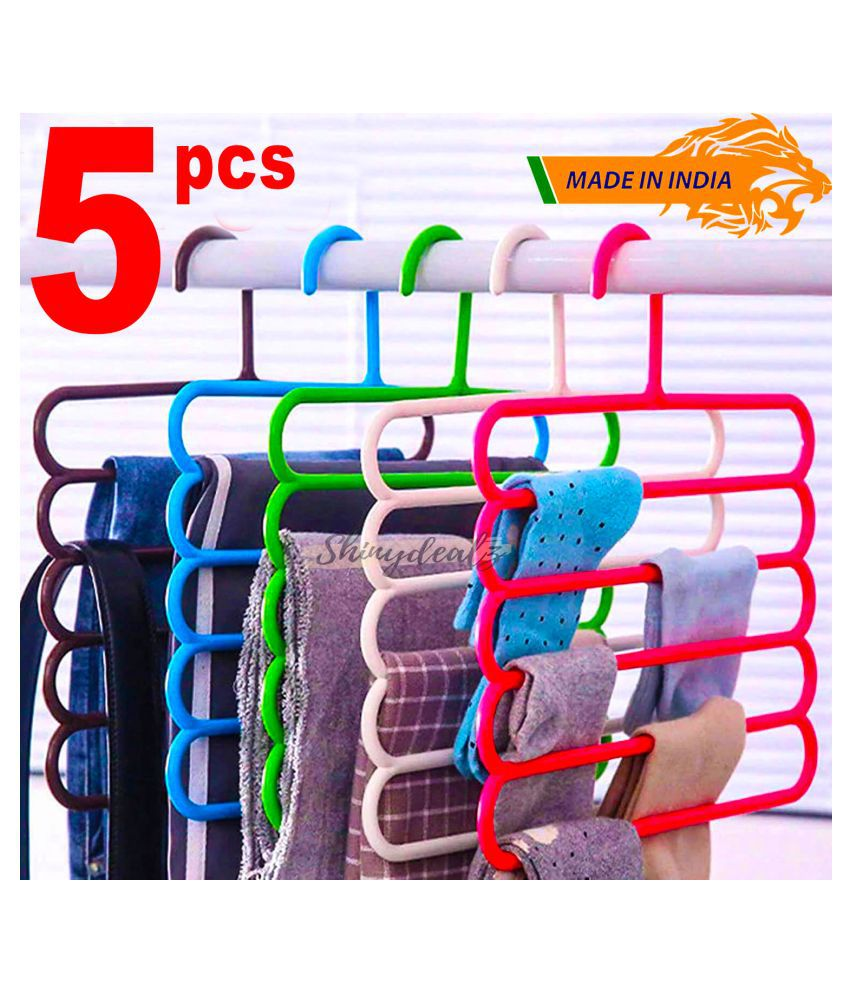 Shinydealz Multi-Purpose 5 Layer Hanger for Wardrobe Clothes Storage for Pants, Sarees,Skirts,Dresses,Leggings,Towels,Scarves,Shirts,Trousers, Jeans,Ties.Set of 5 Pieces