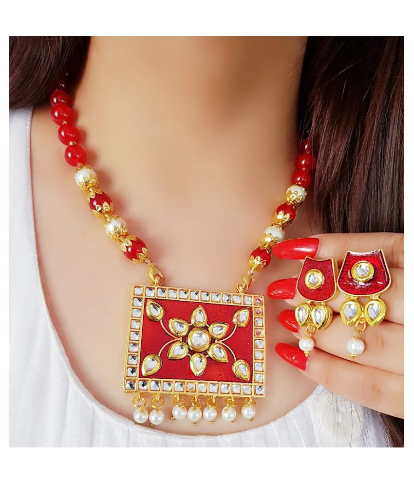 Darshini Designs Red Traditional Necklaces Set Long Haram
