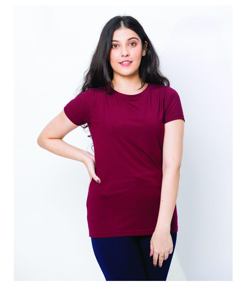 BESIMPLE Cotton Lycra Maroon T-Shirts