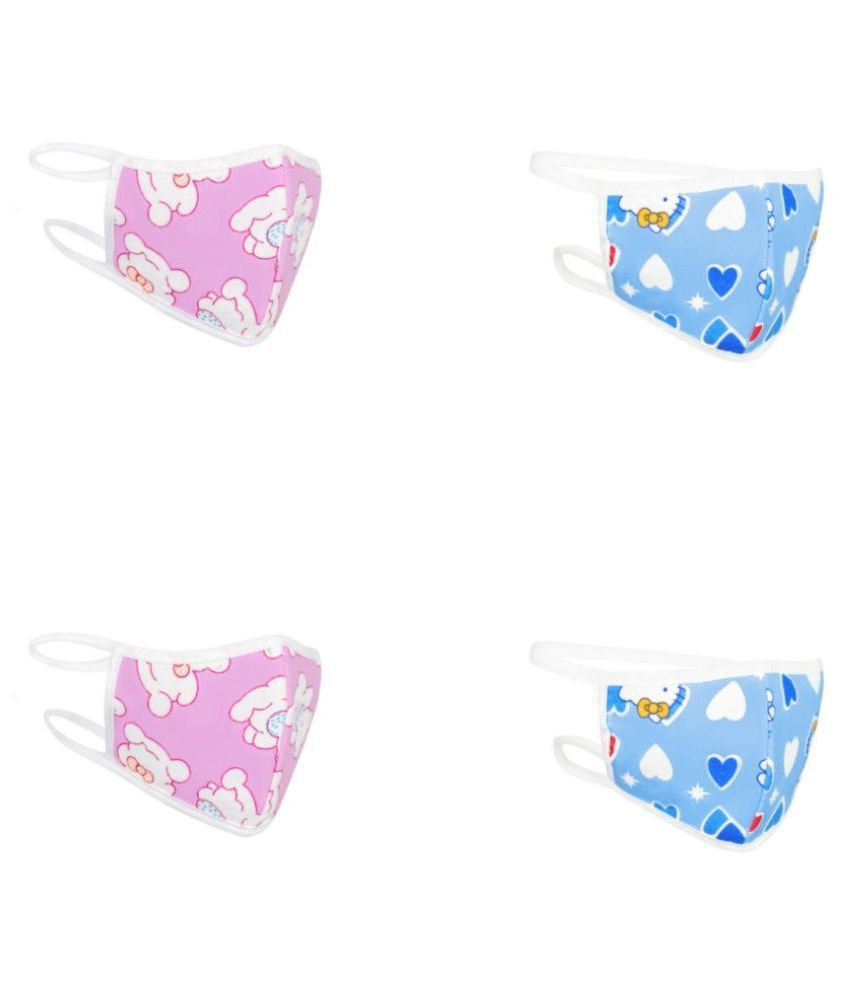 RVS Washable & Reusable Cloth Mask for Kids(Blue & Pink Colour) (Pack of 4