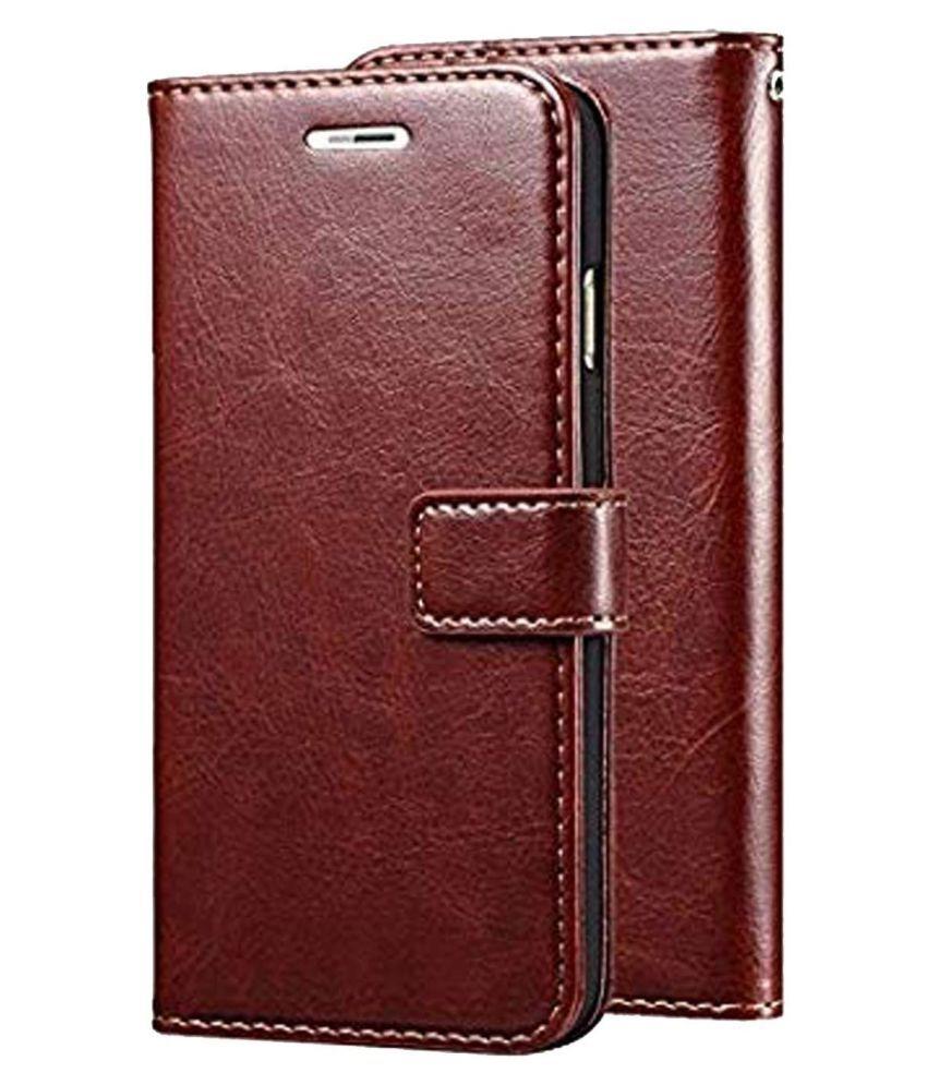 Samsung Galaxy J2 Pro 2018 Flip Cover by GoPerfect   Brown Brown Vintage Flip
