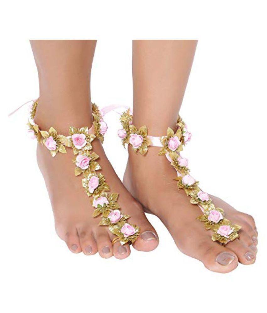 Sanjog Flourish Foot Harness Payal Anklet For Wedding Haldi Mahendi Ceremony (Pink)