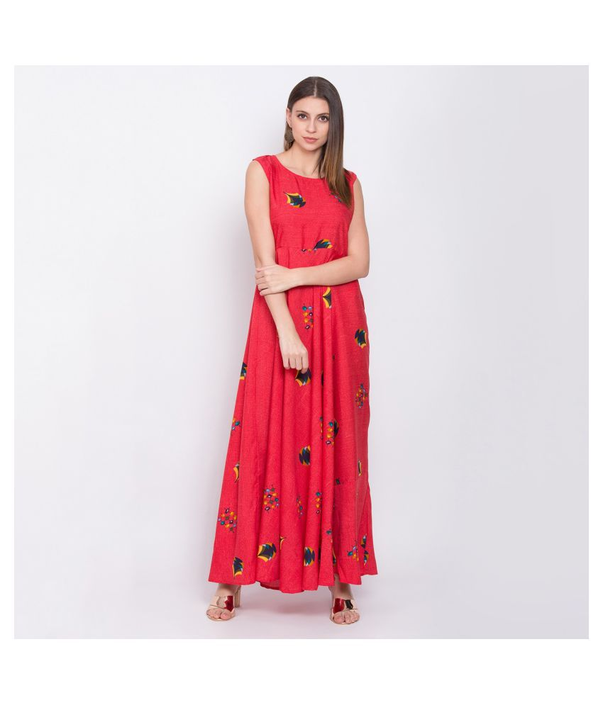Aahana Collection Crepe Red Fit And Flare Dress