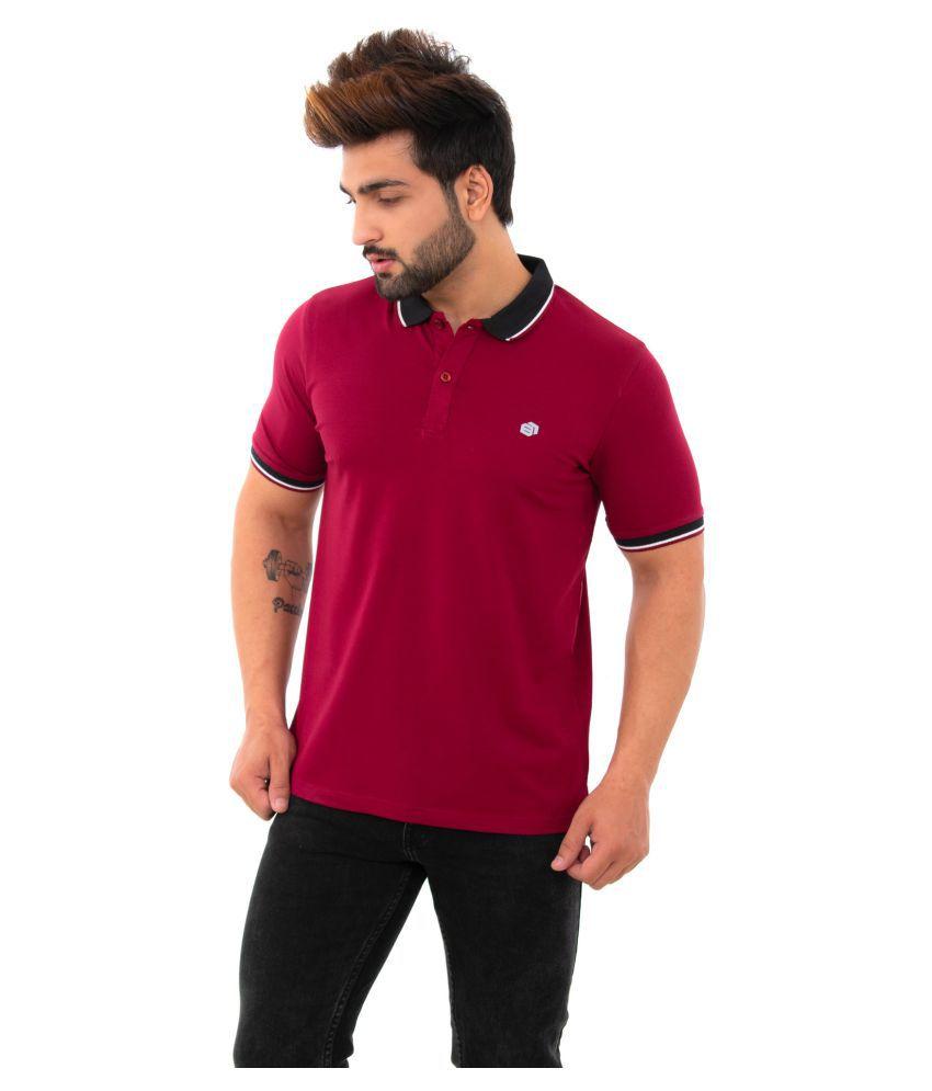 BISHOPCOTTON Cotton Lycra Maroon Plain Polo T Shirt