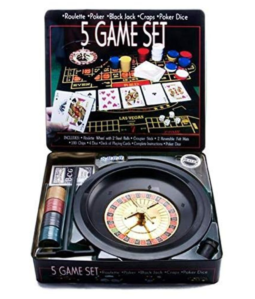 BS SPY 5 in 1 Roulette Poker Blackjack Craps Mini Casino Game Set (Platinum Series)