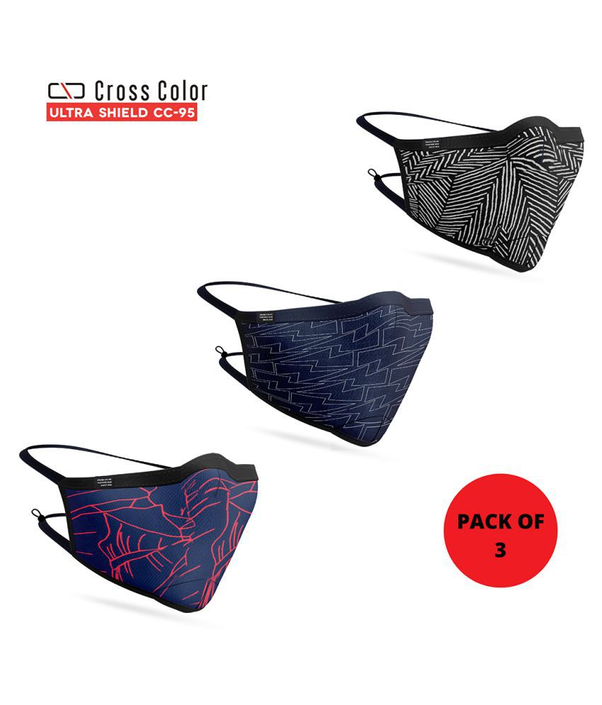 Cross Color Ultra shield Reusable Cotton Face Mask Head Mount Assorted Free Size Pack Of 3