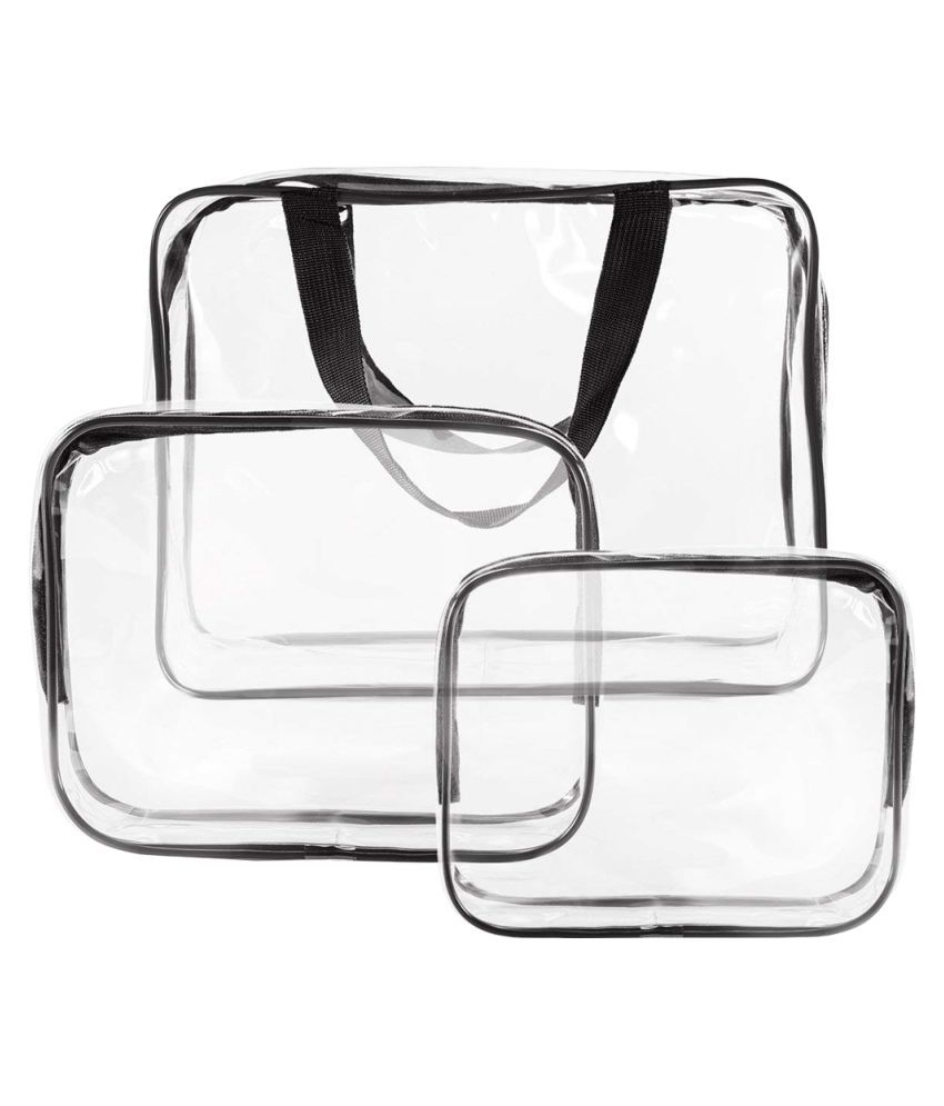 PrettyKrafts Black 3 Pack Clear PVC Cosmetic Bags Travel bags