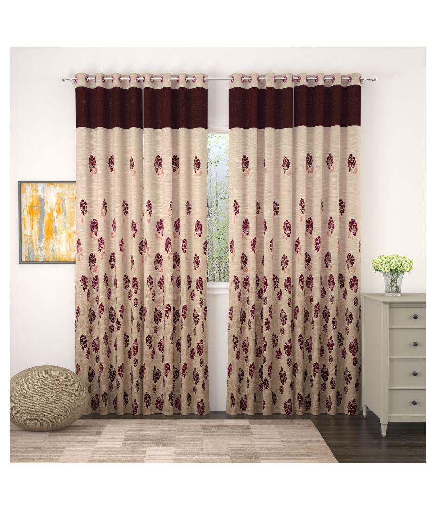 Story@Home Set of 4 Door Blackout Room Darkening Eyelet Jute Curtains Magenta
