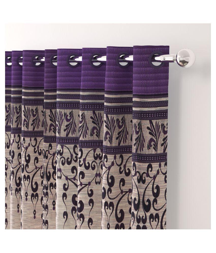 Story@Home Set of 4 Long Door Blackout Room Darkening Eyelet Jute Curtains Purple