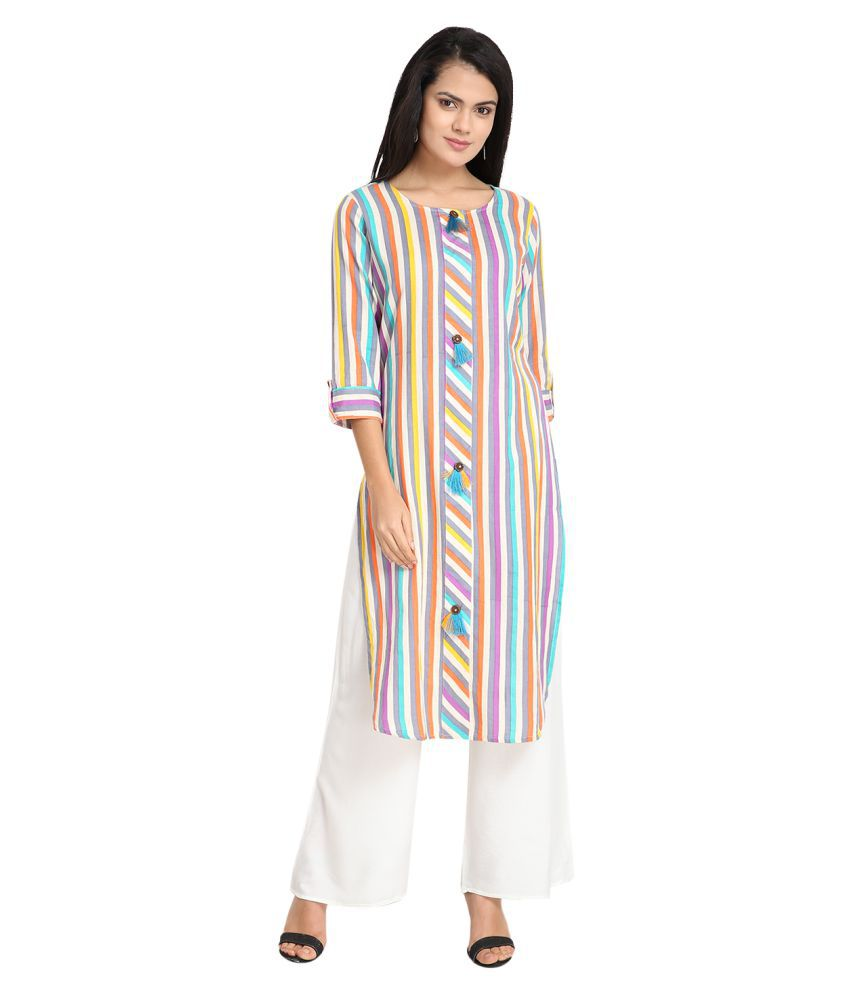 Vids Multicoloured Rayon Straight Kurti